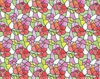 1.5m X 45cm PINK RED FLOWER STAINED GLASS WINDOW STATIC CLING SELF ADHESIVE VINYL